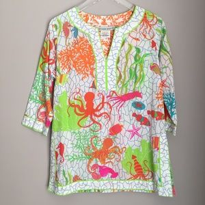 Gretchen Scott Bright Beach Tunic Top Light Blouse